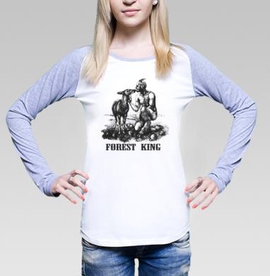 Футболка женская с длинным рукавом бело-серая - Лесной царь