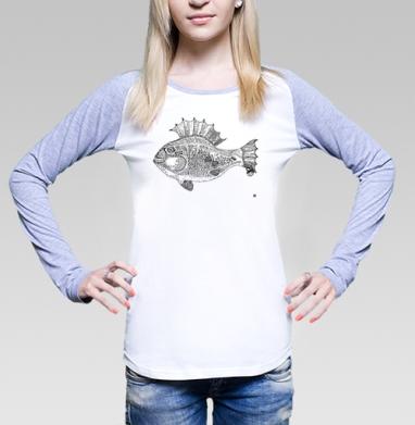 Панк рыба, Футболка лонгслив женская бело-серая