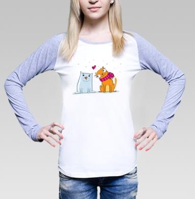 Футболка женская с длинным рукавом бело-серая - Snowcat