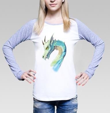 Футболка лонгслив женская бело-серая - Dragon