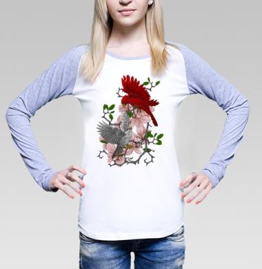 Футболка лонгслив женская бело-серая, бело-серый - Каталог женских товаров и принтов.