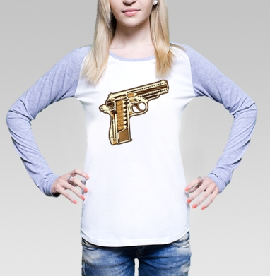 Gun, Футболка лонгслив женская бело-серая