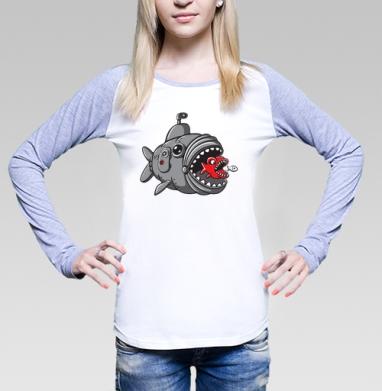Подводная охота рыбалка , Футболка женская с длинным рукавом бело-серая