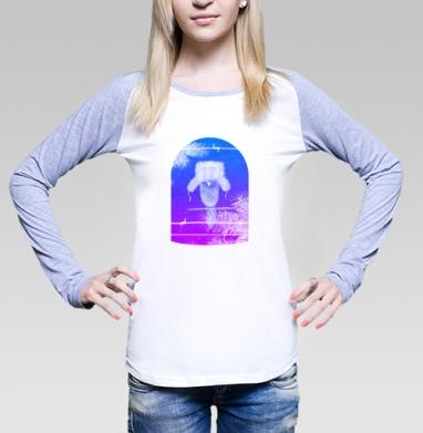 Футболка лонгслив женская бело-серая - ВОР