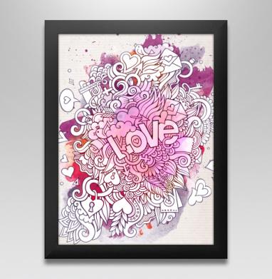 Любовь и дудлы - Постер в чёрной раме, olkabalabolka