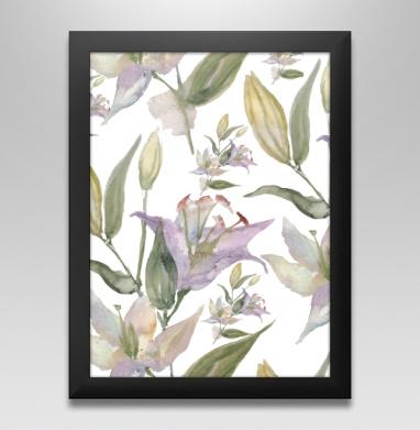 Воздушные лилии - Постер в чёрной раме