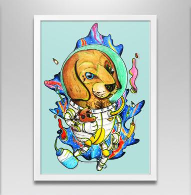 Космо-тату-пес  - Постер в белой раме, татуировки
