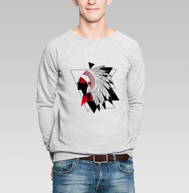 Черно-красный индеец - Купить мужские свитшоты с индейцами в Москве, цена мужских свитшотов с индейцами  с прикольными принтами - магазин дизайнерской одежды MaryJane