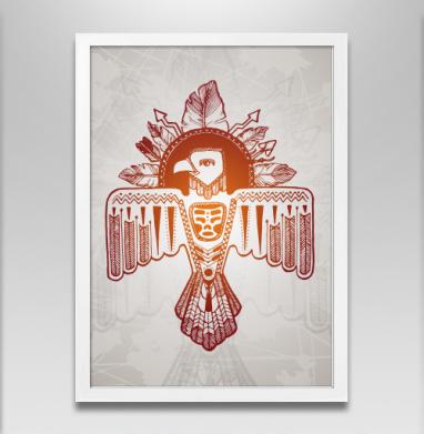 Громовая птица - Постер в белой раме, индеец