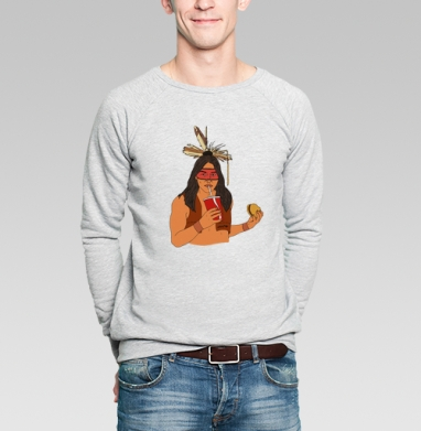 Диалог культур - Купить мужские свитшоты с индейцами в Москве, цена мужских свитшотов с индейцами  с прикольными принтами - магазин дизайнерской одежды MaryJane