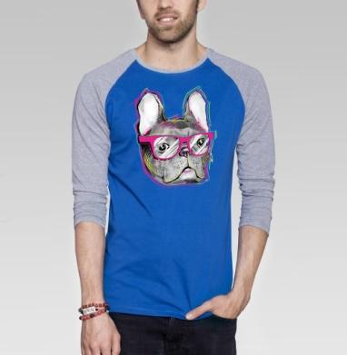 Бульдожка - Футболка мужская с длинным рукавом синий / серый меланж, мода, Популярные