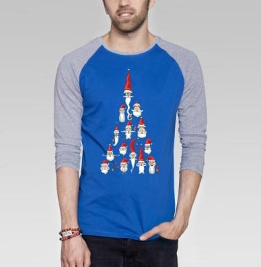 Дедморозоель - Футболка мужская с длинным рукавом синий / серый меланж, новый год, Популярные