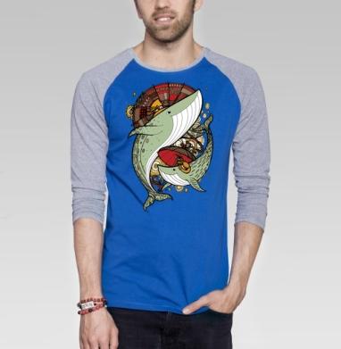 Киты - Футболка мужская с длинным рукавом синий / серый меланж, киты, Популярные