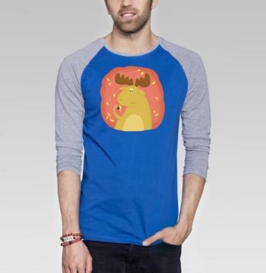 Лосень - Футболка мужская с длинным рукавом синий / серый меланж, осень, Популярные