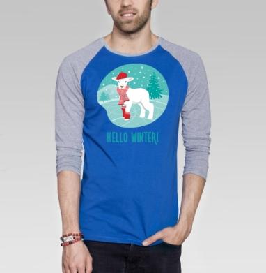 Привет, зима! - Футболка мужская с длинным рукавом синий / серый меланж, Символ