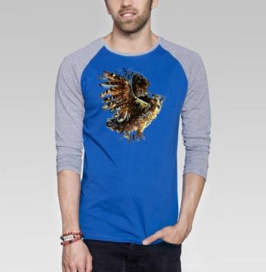 сова - Футболка мужская с длинным рукавом синий / серый меланж, солнце, Популярные