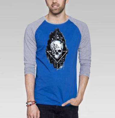 Тайна черепа - Футболка мужская с длинным рукавом синий / серый меланж, череп, Популярные