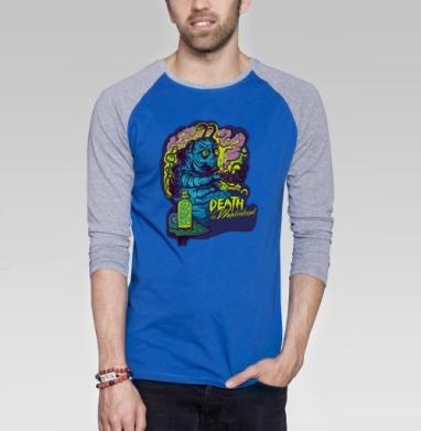 Вдохновееение - Футболка мужская с длинным рукавом синий / серый меланж, насекомые, Популярные