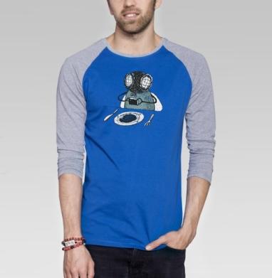 З-з-зацените что я ем - Футболка мужская с длинным рукавом синий / серый меланж, насекомые, Популярные