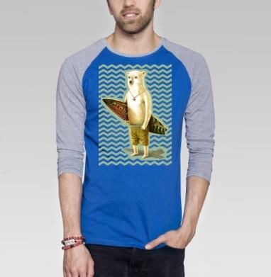 Алоха - Футболка мужская с длинным рукавом синий / серый меланж, лето, Популярные