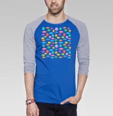 Цветные рыбки - Футболка мужская с длинным рукавом синий / серый меланж, лето, Популярные