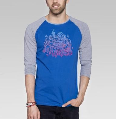 ГОРОДОК - Футболка мужская с длинным рукавом синий / серый меланж, город, Популярные