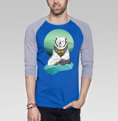 Интеллигентный мишка - Футболка мужская с длинным рукавом синий / серый меланж, животные, Популярные
