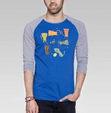 Котята  - Футболка мужская с длинным рукавом синий / серый меланж, улыбка, Популярные