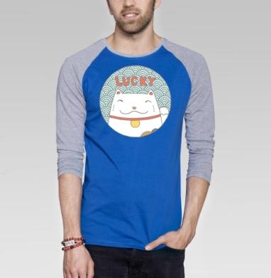 Лаки кэт - Футболка мужская с длинным рукавом синий / серый меланж, кошка, Популярные