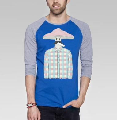 Мистер Гриб - Футболка мужская с длинным рукавом синий / серый меланж, усы, Популярные