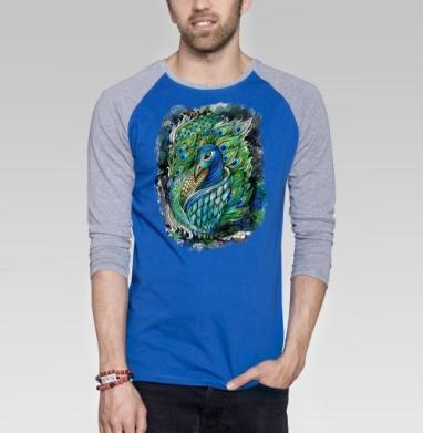 ПАВЛИК - Футболка мужская с длинным рукавом синий / серый меланж, индеец, Популярные