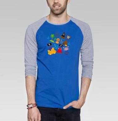 Пираты  - Футболка мужская с длинным рукавом синий / серый меланж, иллюстация, Популярные