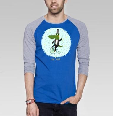 Прогулка - Футболка мужская с длинным рукавом синий / серый меланж, велосипед, Популярные