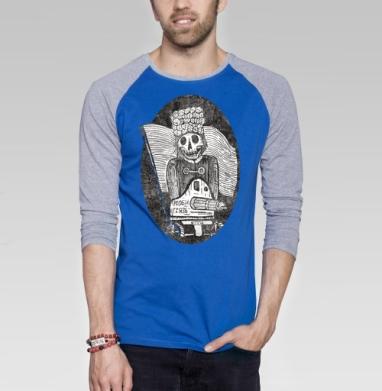 Ррроби гррязь  - Футболка мужская с длинным рукавом синий / серый меланж, оружие, Популярные