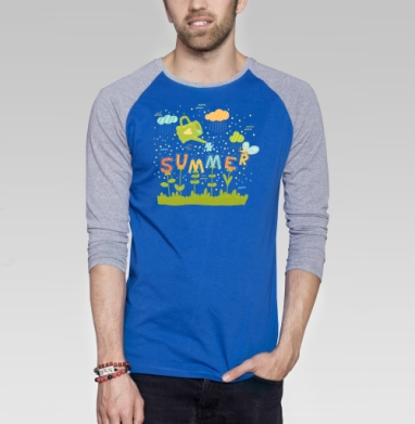Саммер - Футболка мужская с длинным рукавом синий / серый меланж, Бабочки