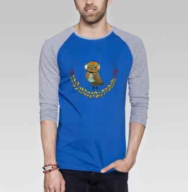 Сов мыслитель - Футболка мужская с длинным рукавом синий / серый меланж, бабочки, Популярные