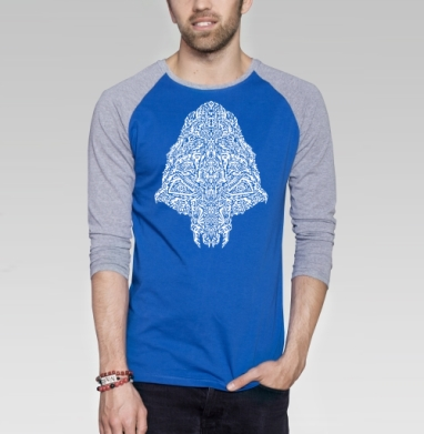 Череп пришельца - Футболка мужская с длинным рукавом синий / серый меланж, голова, Популярные