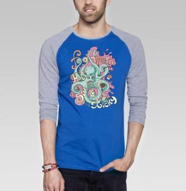 Фудпорн - Футболка мужская с длинным рукавом синий / серый меланж, сладости, Популярные