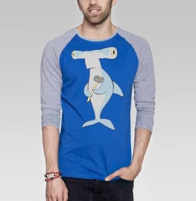 Hammerhead - Футболка мужская с длинным рукавом синий / серый меланж, морская, Популярные