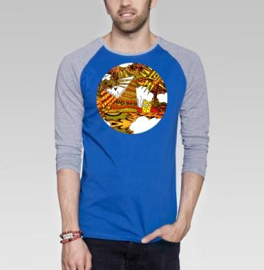 Орнаментопия - Футболка мужская с длинным рукавом синий / серый меланж, этно, Популярные