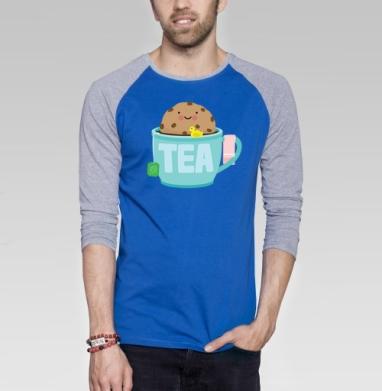Печенька принимает ванну - Футболка мужская с длинным рукавом синий / серый меланж, Улыбка
