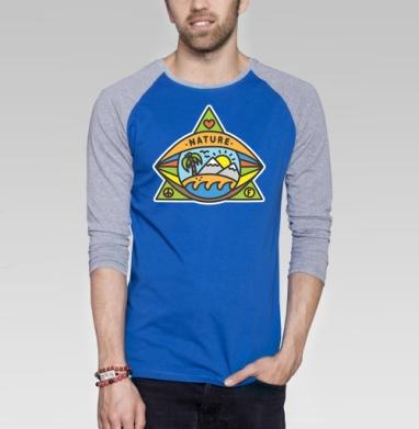 ПРИРОДА - Футболка мужская с длинным рукавом синий / серый меланж, хипстер, Популярные