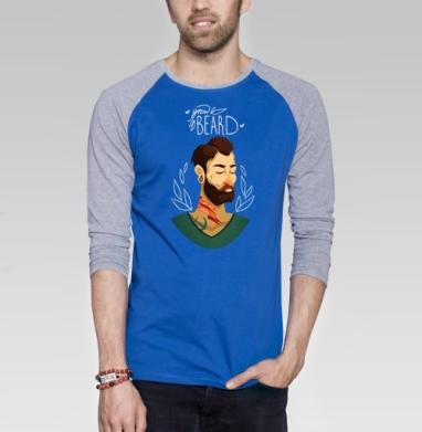 Расти бороду - Футболка мужская с длинным рукавом синий / серый меланж, борода, Популярные