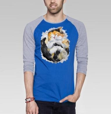Спящий котёнок - Футболка мужская с длинным рукавом синий / серый меланж, кошка, Популярные
