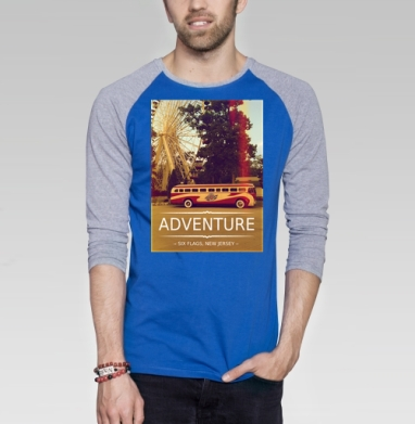 Adventure - Футболка мужская с длинным рукавом синий / серый меланж, автомобиль, Популярные
