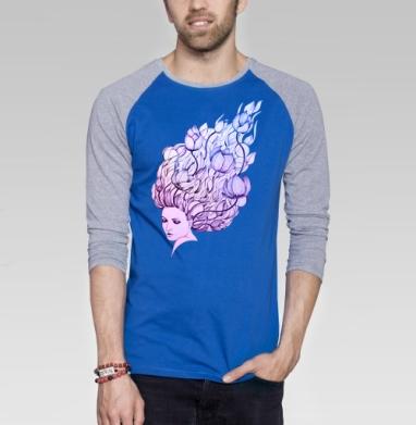 Lady-flower - Футболка мужская с длинным рукавом синий / серый меланж, нежность, Популярные