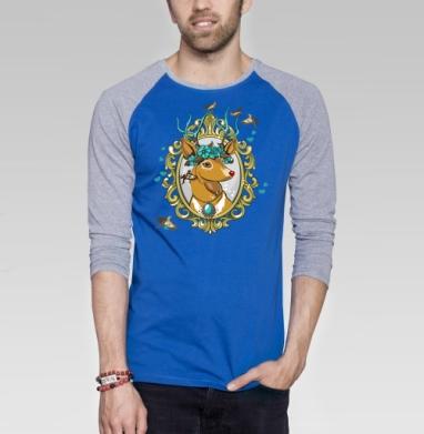 Милый олень - Футболка мужская с длинным рукавом синий / серый меланж, хипстер, Популярные
