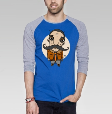Усач2 - Футболка мужская с длинным рукавом синий / серый меланж, усы, Популярные