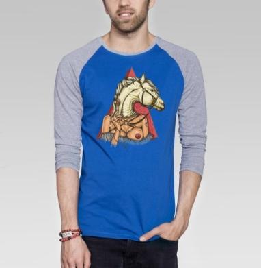 White horse - Футболка мужская с длинным рукавом синий / серый меланж, символ, Популярные