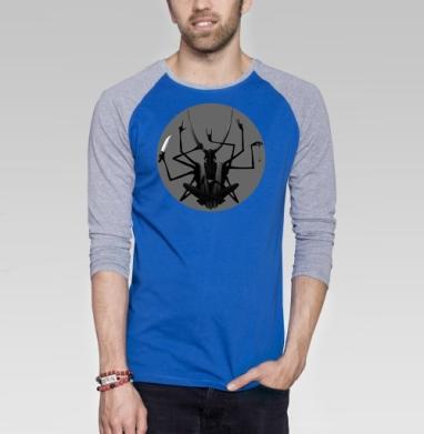 Чаепитие - Футболка мужская с длинным рукавом синий / серый меланж, военные, Популярные
